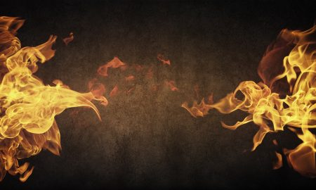 image of fire on grey background